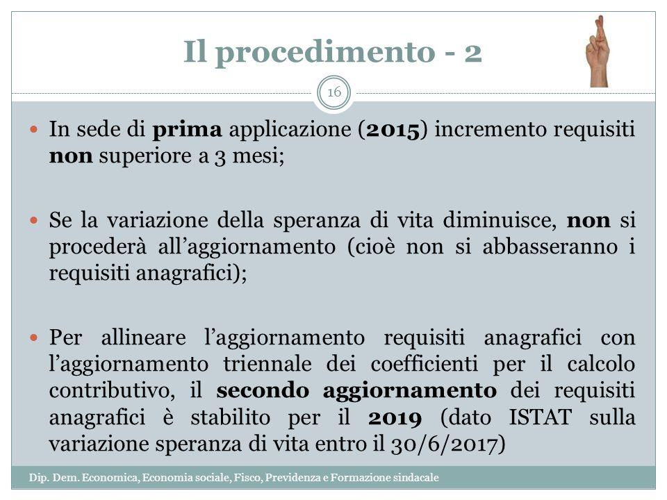 Il procedimento - 2 In sede di prima applicazione (2015) incremento requisiti non superiore a 3 mesi; Se la variazione della speranza di vita diminuis