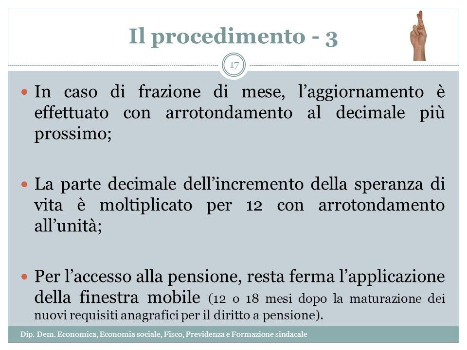 Il procedimento - 3 In caso di frazione di mese, laggiornamento è effettuato con arrotondamento al decimale più prossimo; La parte decimale dellincrem