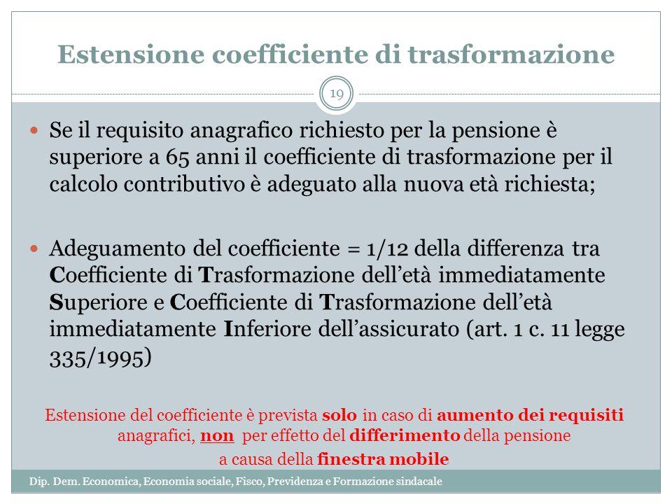 Estensione coefficiente di trasformazione Se il requisito anagrafico richiesto per la pensione è superiore a 65 anni il coefficiente di trasformazione