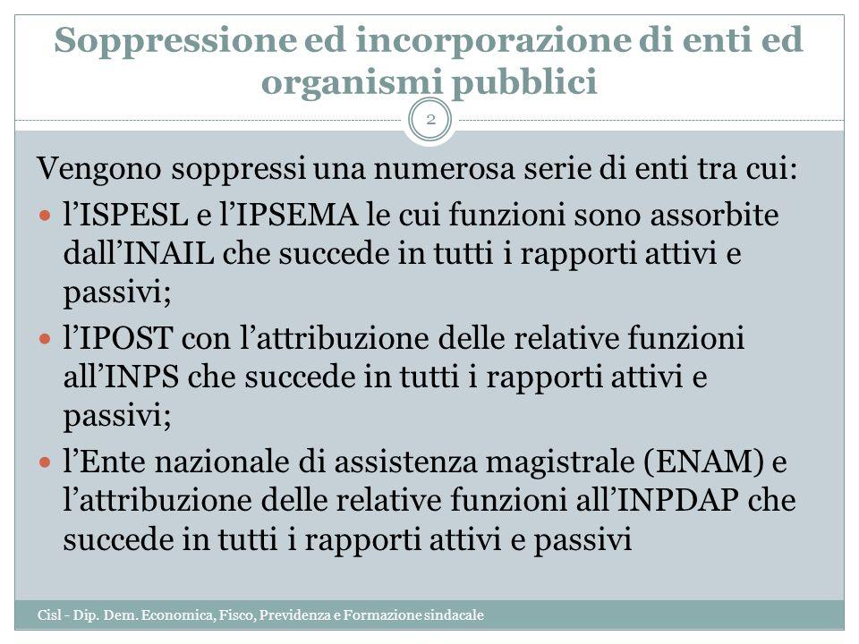 Soppressione ed incorporazione di enti ed organismi pubblici Vengono soppressi una numerosa serie di enti tra cui: lISPESL e lIPSEMA le cui funzioni s