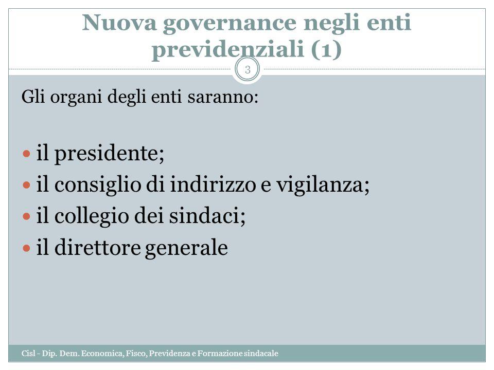 Nuova governance negli enti previdenziali (1) Gli organi degli enti saranno: il presidente; il consiglio di indirizzo e vigilanza; il collegio dei sin