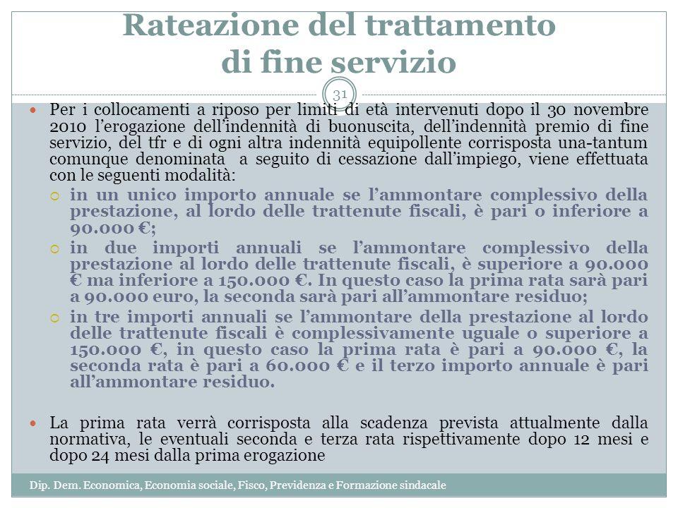 Rateazione del trattamento di fine servizio Per i collocamenti a riposo per limiti di età intervenuti dopo il 30 novembre 2010 lerogazione dellindenni