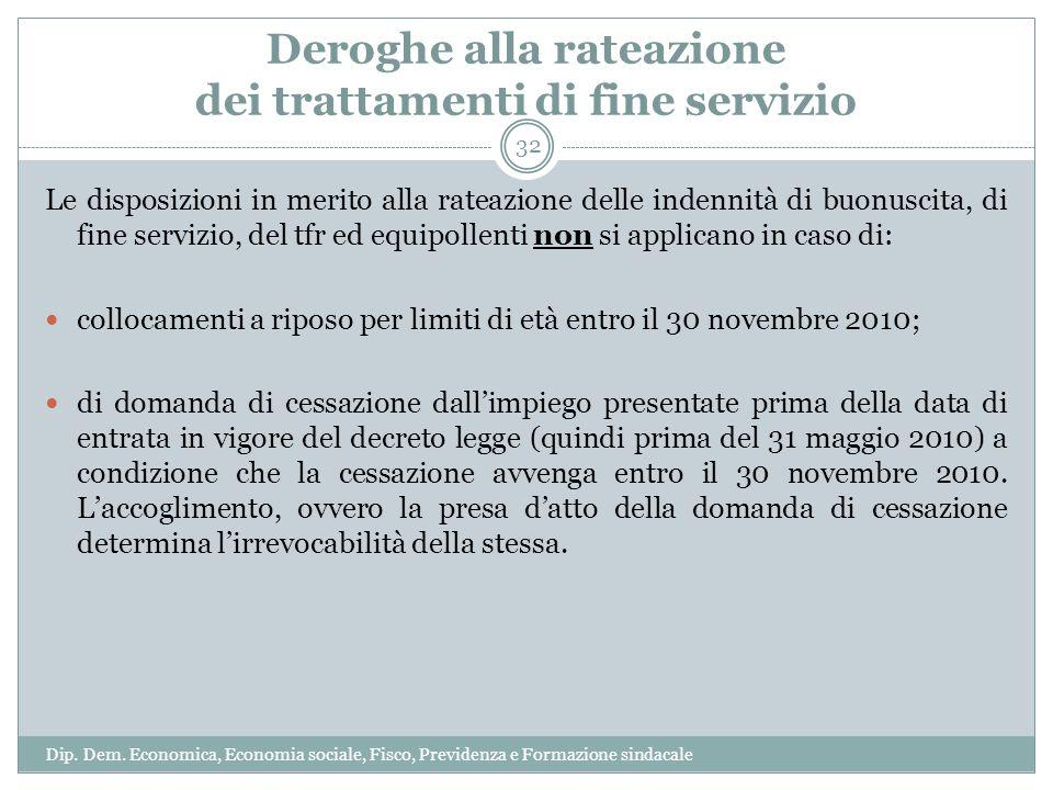 Deroghe alla rateazione dei trattamenti di fine servizio Le disposizioni in merito alla rateazione delle indennità di buonuscita, di fine servizio, de