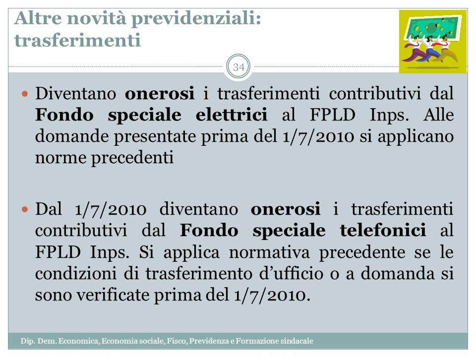 Altre novità previdenziali: trasferimenti Diventano onerosi i trasferimenti contributivi dal Fondo speciale elettrici al FPLD Inps. Alle domande prese