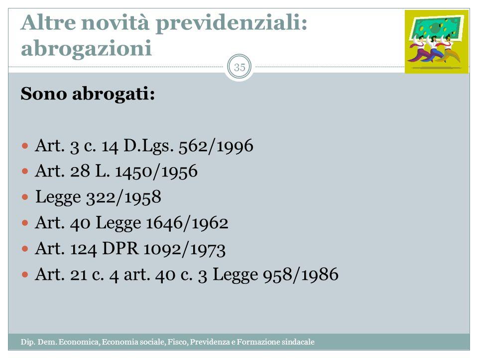 Altre novità previdenziali: abrogazioni Sono abrogati: Art. 3 c. 14 D.Lgs. 562/1996 Art. 28 L. 1450/1956 Legge 322/1958 Art. 40 Legge 1646/1962 Art. 1