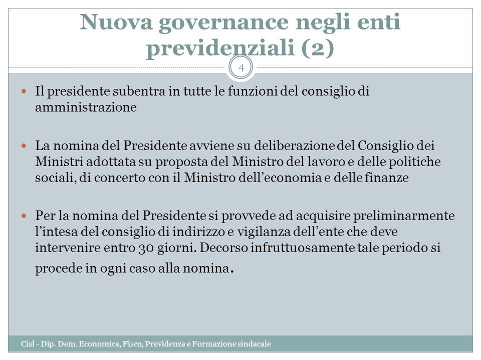 Nuova governance negli enti previdenziali (2) Il presidente subentra in tutte le funzioni del consiglio di amministrazione La nomina del Presidente av