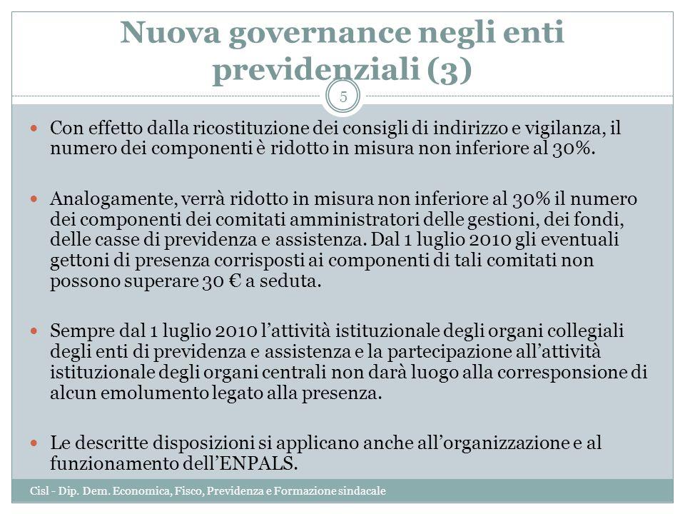 Nuova governance negli enti previdenziali (3) Con effetto dalla ricostituzione dei consigli di indirizzo e vigilanza, il numero dei componenti è ridot