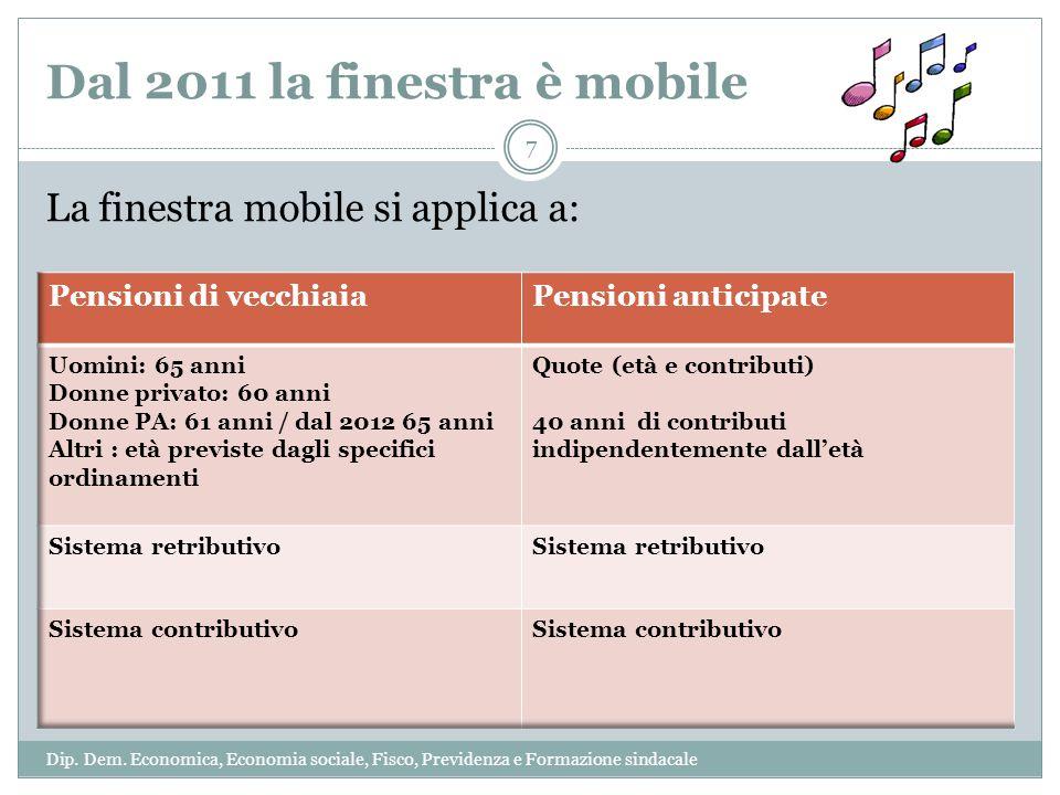 Dal 2011 la finestra è mobile La finestra mobile si applica a: 7 Dip. Dem. Economica, Economia sociale, Fisco, Previdenza e Formazione sindacale