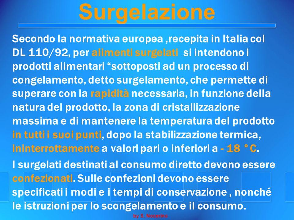 Surgelazione Secondo la normativa europea,recepita in Italia col DL 110/92, per alimenti surgelati si intendono i prodotti alimentari sottoposti ad un