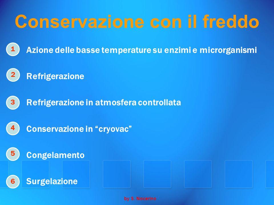 Conservazione con il freddo Azione delle basse temperature su enzimi e microrganismi Refrigerazione Refrigerazione in atmosfera controllata Conservazi
