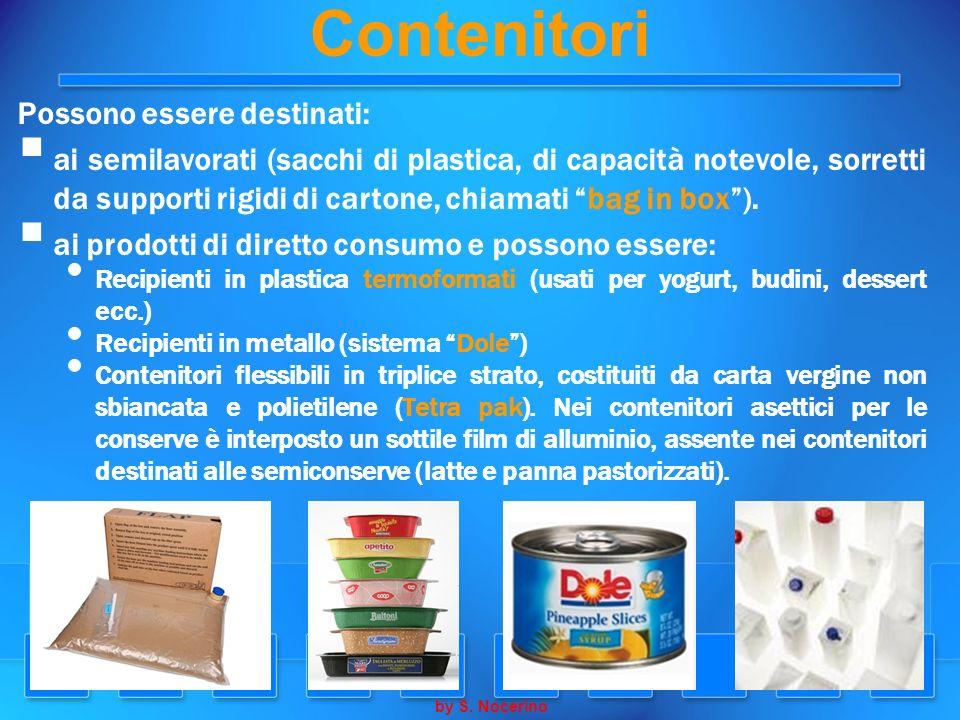 Contenitori Possono essere destinati: ai semilavorati (sacchi di plastica, di capacità notevole, sorretti da supporti rigidi di cartone, chiamati bag