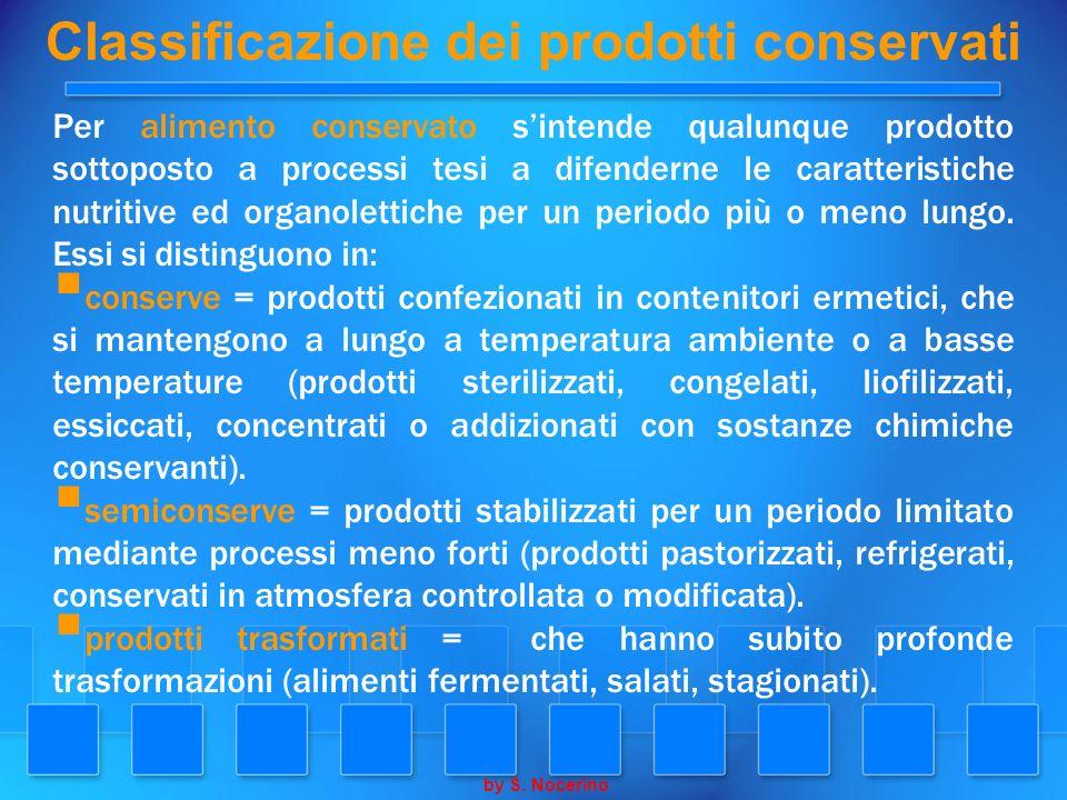 Classificazione dei prodotti conservati Per alimento conservato sintende qualunque prodotto sottoposto a processi tesi a difenderne le caratteristiche