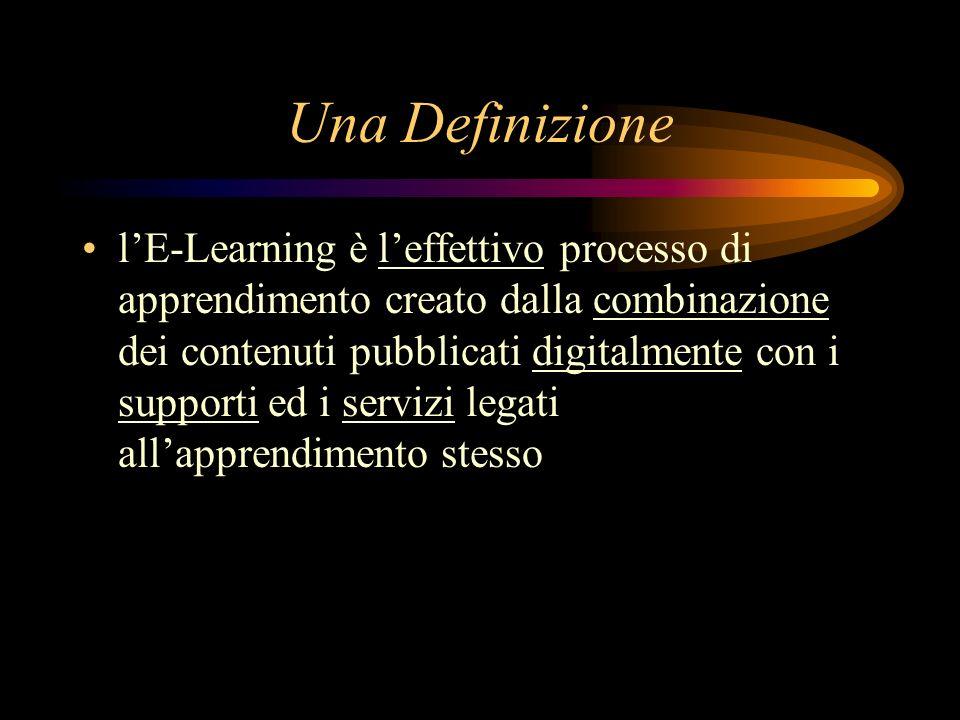 Una Definizione lE-Learning è leffettivo processo di apprendimento creato dalla combinazione dei contenuti pubblicati digitalmente con i supporti ed i servizi legati allapprendimento stesso