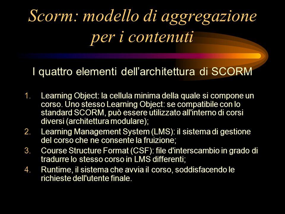 Scorm: modello di aggregazione per i contenuti I quattro elementi dellarchitettura di SCORM 1.Learning Object: la cellula minima della quale si compone un corso.
