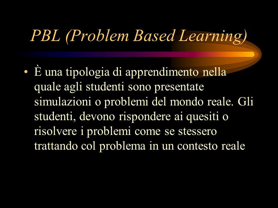 PBL (Problem Based Learning) È una tipologia di apprendimento nella quale agli studenti sono presentate simulazioni o problemi del mondo reale.