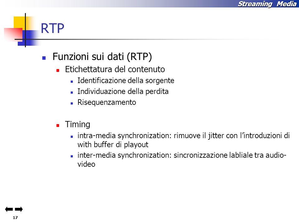 17 Streaming Media RTP Funzioni sui dati (RTP) Etichettatura del contenuto Identificazione della sorgente Individuazione della perdita Risequenzamento Timing intra-media synchronization: rimuove il jitter con lintroduzioni di with buffer di playout inter-media synchronization: sincronizzazione labliale tra audio- video