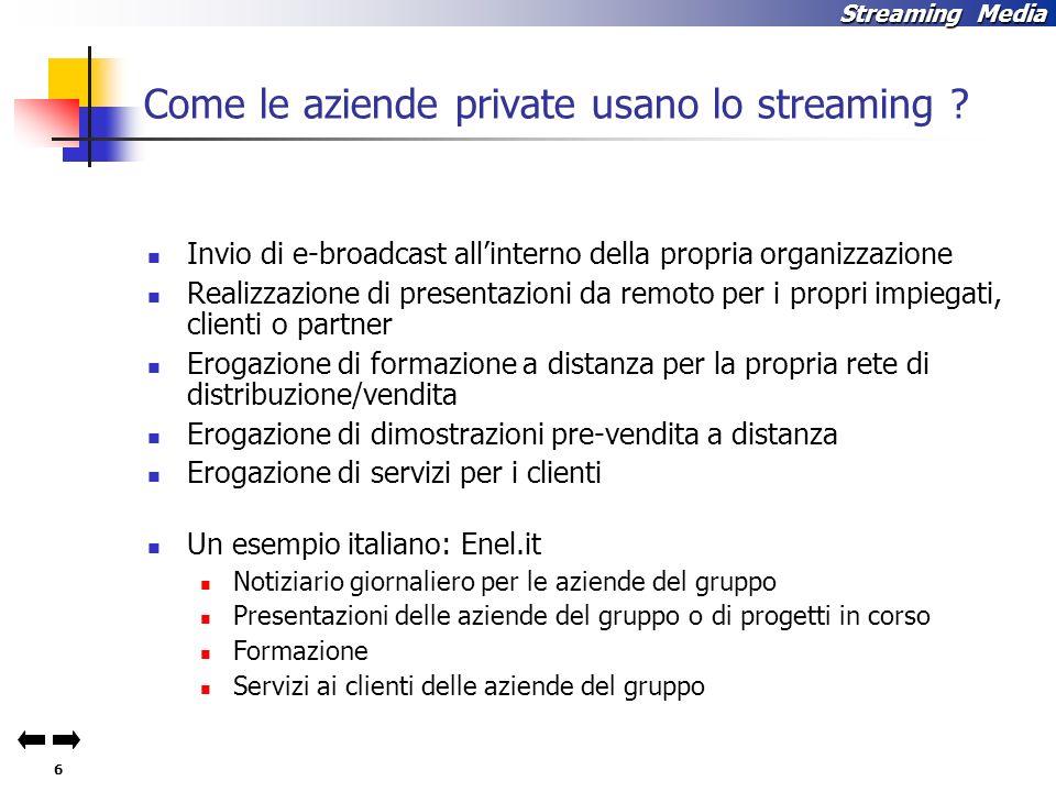 6 Streaming Media Come le aziende private usano lo streaming .