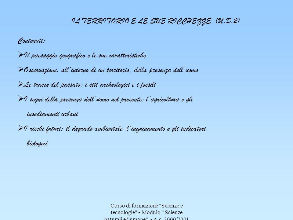 Corso di formazione Scienze e tecnologie - Modulo Scienze naturali ed umane - A.s.