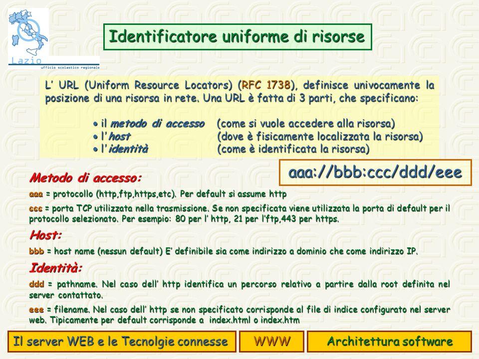 L URL (Uniform Resource Locators) (RFC 1738), definisce univocamente la posizione di una risorsa in rete. Una URL è fatta di 3 parti, che specificano: