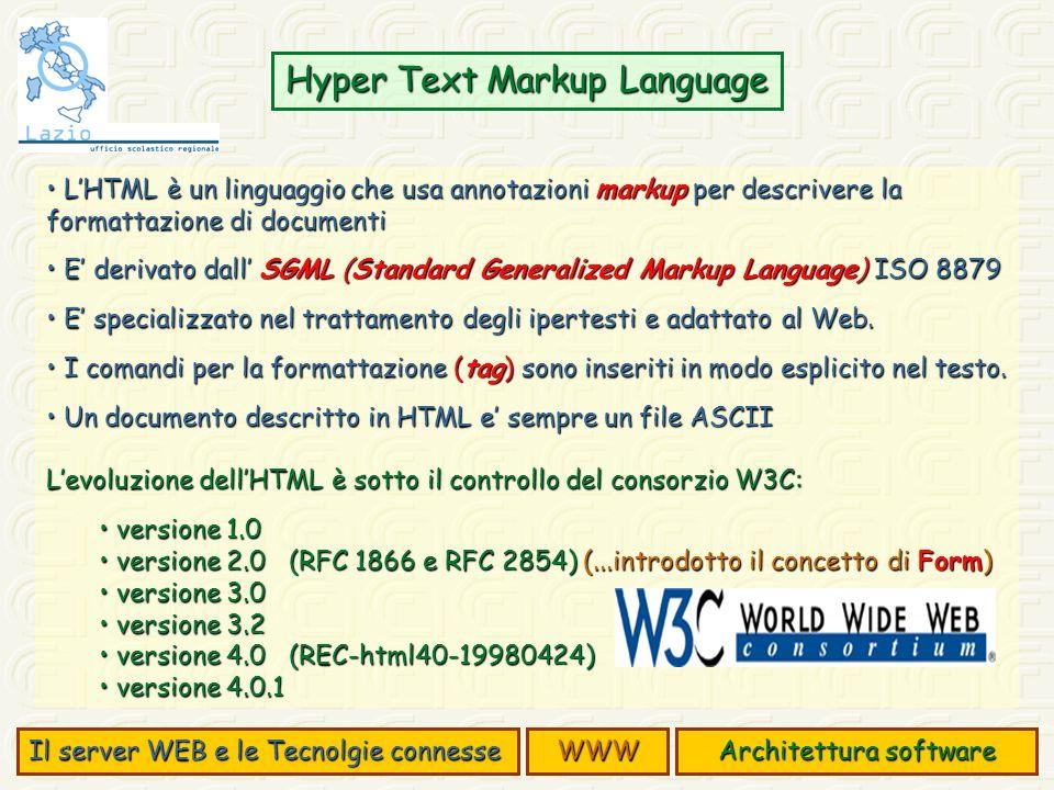 LHTML è un linguaggio che usa annotazioni markup per descrivere la formattazione di documenti LHTML è un linguaggio che usa annotazioni markup per descrivere la formattazione di documenti E derivato dall SGML (Standard Generalized Markup Language) ISO 8879 E derivato dall SGML (Standard Generalized Markup Language) ISO 8879 E specializzato nel trattamento degli ipertesti e adattato al Web.