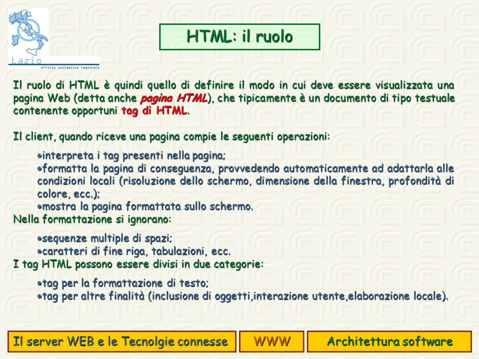 Il ruolo di HTML è quindi quello di definire il modo in cui deve essere visualizzata una pagina Web (detta anche pagina HTML), che tipicamente è un documento di tipo testuale contenente opportuni tag di HTML.
