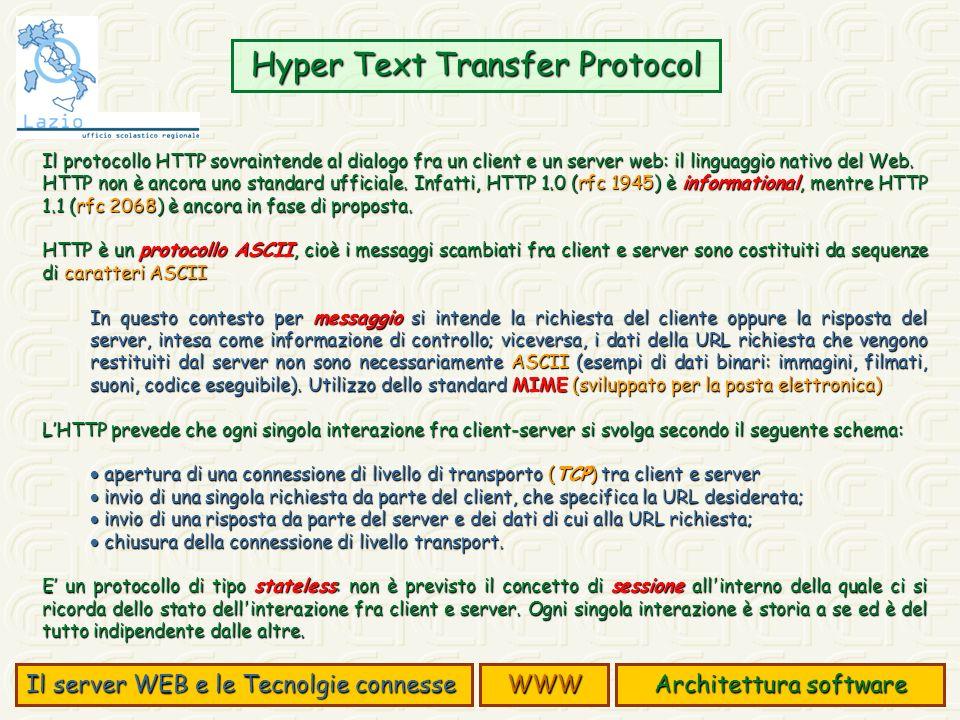 Il protocollo HTTP sovraintende al dialogo fra un client e un server web: il linguaggio nativo del Web. HTTP non è ancora uno standard ufficiale. Infa