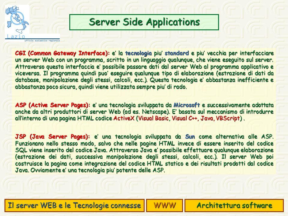Server Side Applications Architettura software Il server WEB e le Tecnologie connesse WWW CGI (Common Gateway Interface): e la tecnologia piu standard e piu vecchia per interfacciare un server Web con un programma, scritto in un linguaggio qualunque, che viene eseguito sul server.