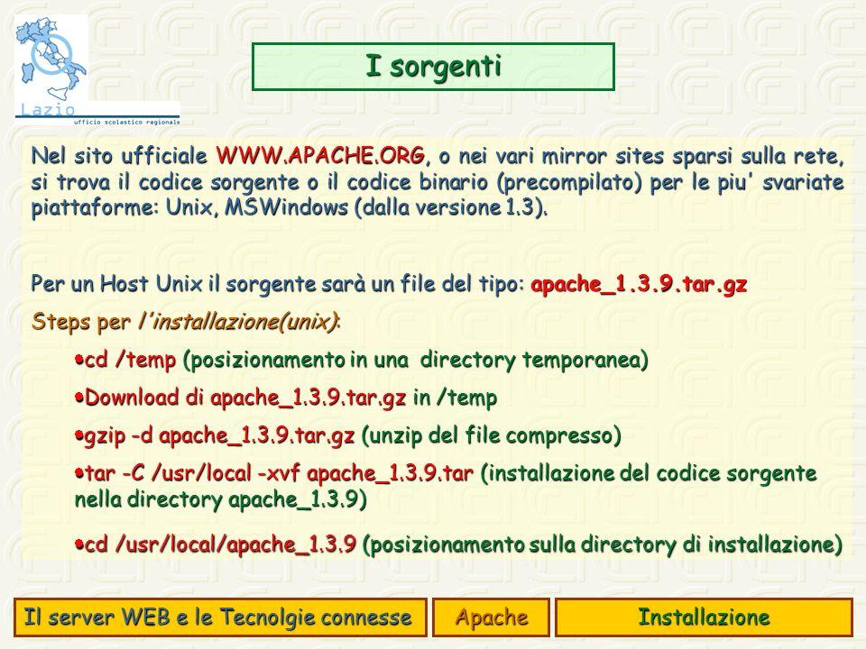 I sorgenti Il server WEB e le Tecnolgie connesse ApacheInstallazione Nel sito ufficiale WWW.APACHE.ORG, o nei vari mirror sites sparsi sulla rete, si trova il codice sorgente o il codice binario (precompilato) per le piu svariate piattaforme: Unix, MSWindows (dalla versione 1.3).