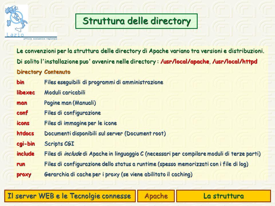 Struttura delle directory Il server WEB e le Tecnolgie connesse Apache La struttura Le convenzioni per la struttura delle directory di Apache variano tra versioni e distribuzioni.