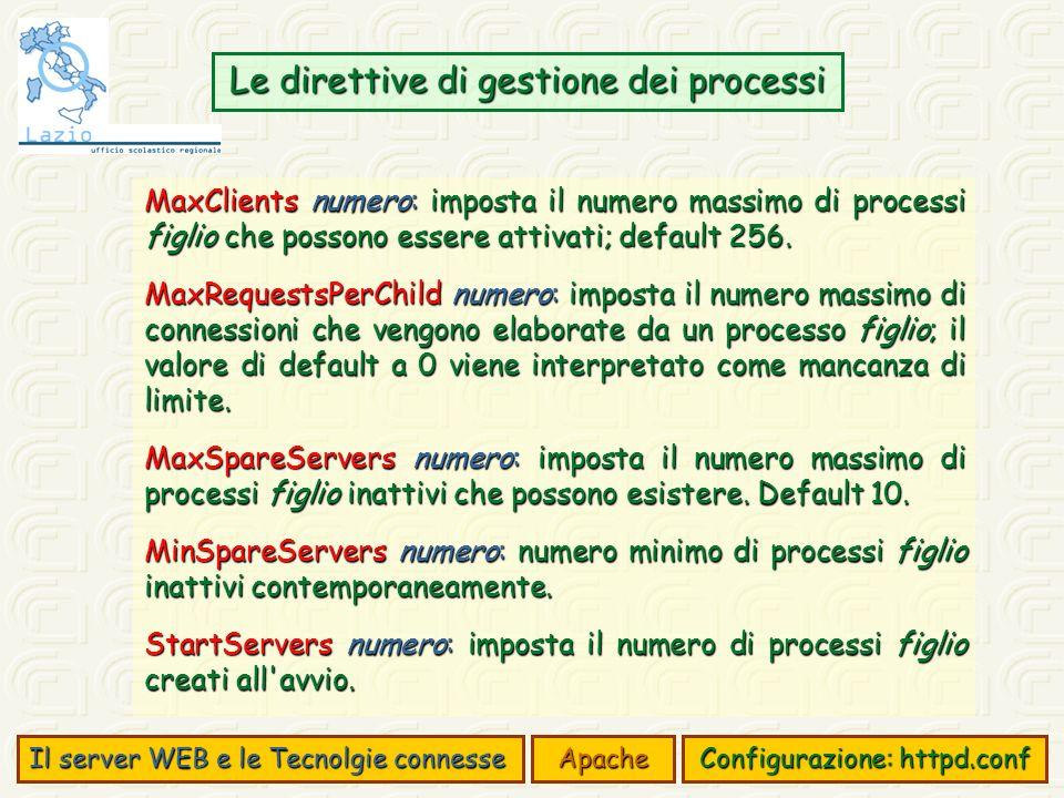 Il server WEB e le Tecnolgie connesse Apache Configurazione: httpd.conf Le direttive di gestione dei processi MaxClients numero: imposta il numero massimo di processi figlio che possono essere attivati; default 256.