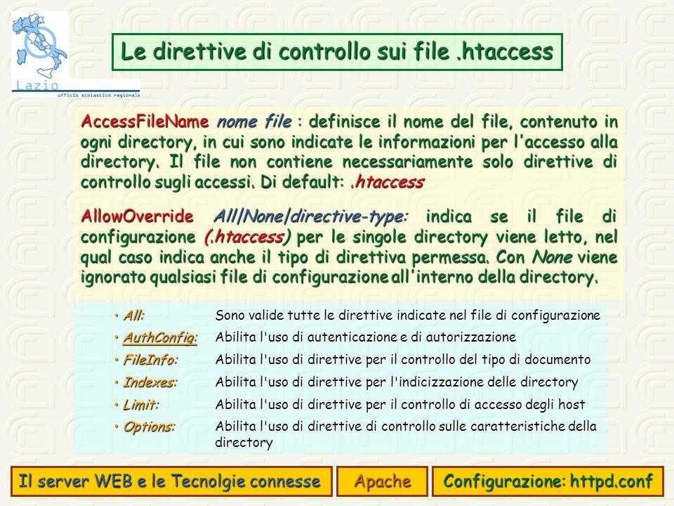 Il server WEB e le Tecnolgie connesse Apache Configurazione: httpd.conf Le direttive di controllo sui file.htaccess AccessFileName nome file : definisce il nome del file, contenuto in ogni directory, in cui sono indicate le informazioni per l accesso alla directory.