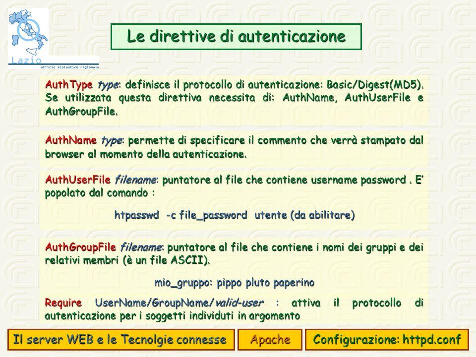 Il server WEB e le Tecnolgie connesse Apache Configurazione: httpd.conf Le direttive di autenticazione AuthType type: definisce il protocollo di autenticazione: Basic/Digest(MD5).