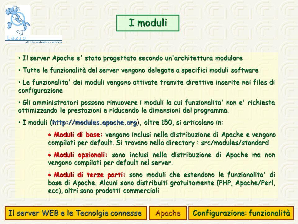 I moduli Il server WEB e le Tecnolgie connesse Apache Configurazione: funzionalità Il server Apache e' stato progettato secondo un'architettura modula