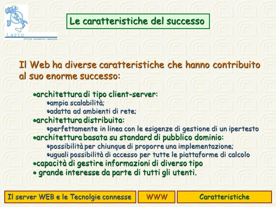 Il Web ha diverse caratteristiche che hanno contribuito al suo enorme successo: architettura di tipo client-server: architettura di tipo client-server