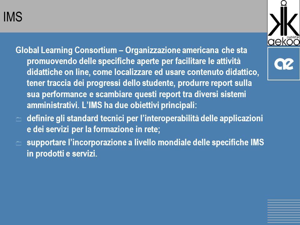 IMS Global Learning Consortium – Organizzazione americana che sta promuovendo delle specifiche aperte per facilitare le attività didattiche on line, come localizzare ed usare contenuto didattico, tener traccia dei progressi dello studente, produrre report sulla sua performance e scambiare questi report tra diversi sistemi amministrativi.