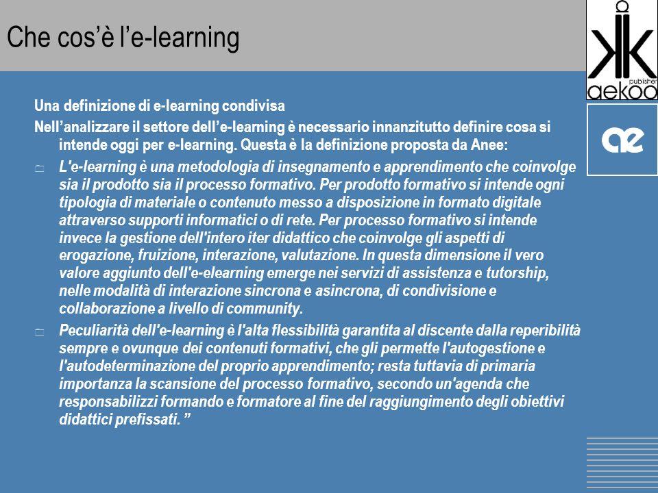 Che cosè le-learning Una definizione di e-learning condivisa Nellanalizzare il settore delle-learning è necessario innanzitutto definire cosa si intende oggi per e-learning.
