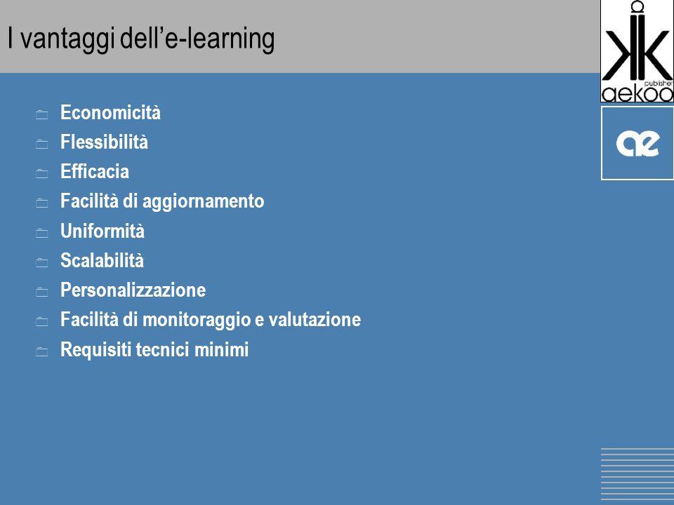I vantaggi delle-learning 0 Economicità 0 Flessibilità 0 Efficacia 0 Facilità di aggiornamento 0 Uniformità 0 Scalabilità 0 Personalizzazione 0 Facilità di monitoraggio e valutazione 0 Requisiti tecnici minimi