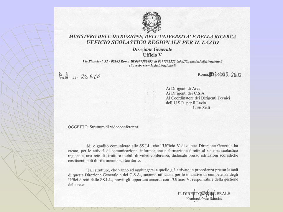 I poli di riferimento per la videoconferenza del Lazio Sistema di videoconferenza La rete Fondi C.M.