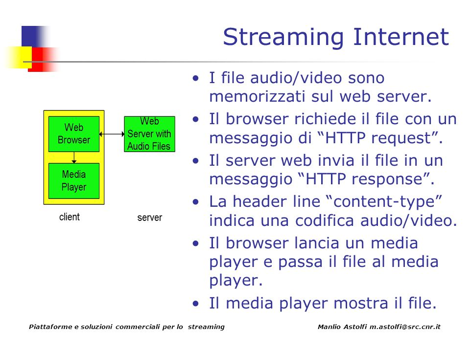 Piattaforme e soluzioni commerciali per lo streaming Manlio Astolfi m.astolfi@src.cnr.it Streaming Internet I file audio/video sono memorizzati sul web server.