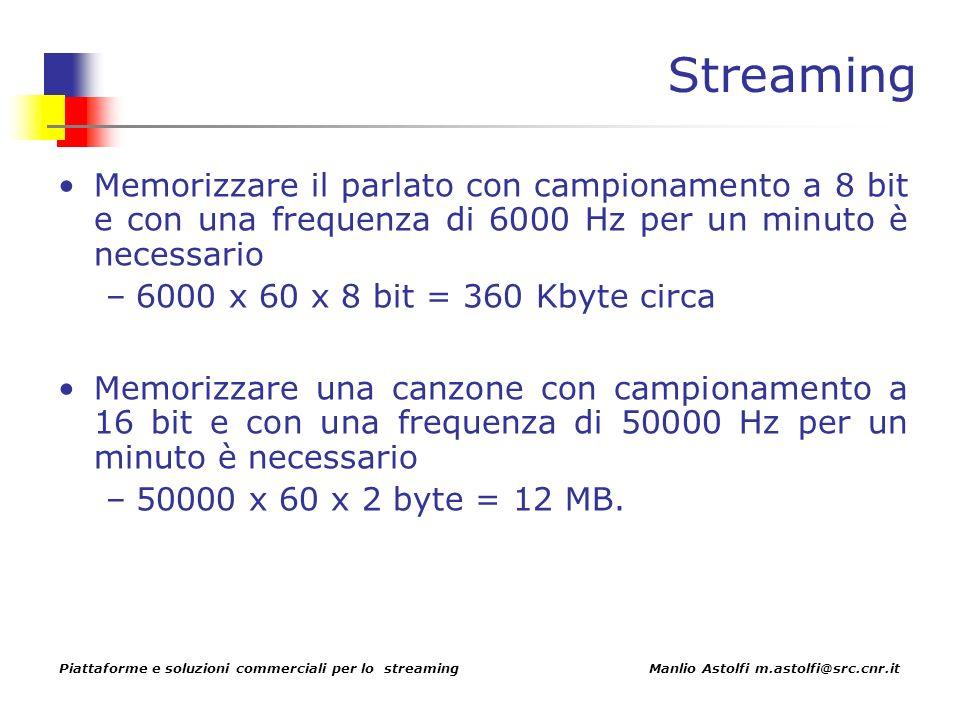 Piattaforme e soluzioni commerciali per lo streaming Manlio Astolfi m.astolfi@src.cnr.it Streaming Memorizzare il parlato con campionamento a 8 bit e con una frequenza di 6000 Hz per un minuto è necessario –6000 x 60 x 8 bit = 360 Kbyte circa Memorizzare una canzone con campionamento a 16 bit e con una frequenza di 50000 Hz per un minuto è necessario –50000 x 60 x 2 byte = 12 MB.