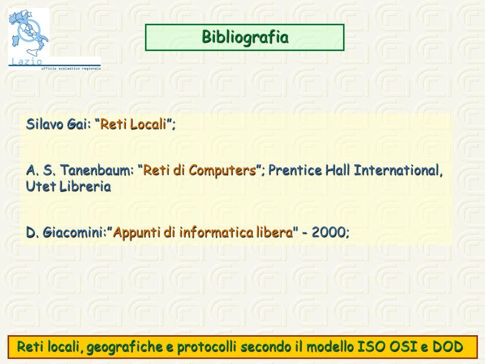 Bibliografia Silavo Gai: Reti Locali; A. S. Tanenbaum: Reti di Computers; Prentice Hall International, Utet Libreria D. Giacomini:Appunti di informati