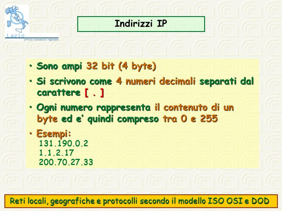 Indirizzi IP Sono ampi 32 bit (4 byte) Sono ampi 32 bit (4 byte) Si scrivono come 4 numeri decimali separati dal Si scrivono come 4 numeri decimali se
