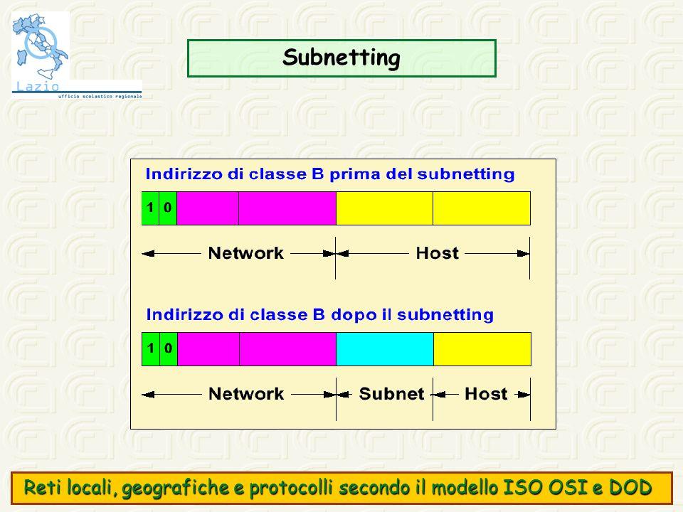 Subnetting Reti locali, geografiche e protocolli secondo il modello ISO OSI e DOD Reti locali, geografiche e protocolli secondo il modello ISO OSI e D