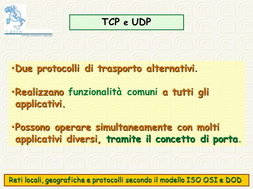 TCP e UDP Due protocolli di trasporto alternativiDue protocolli di trasporto alternativi. Realizzano a tutti gliRealizzano funzionalità comuni a tutti