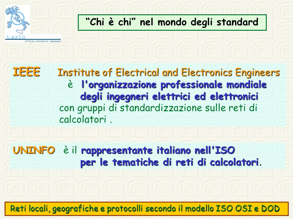 Classe C Campo reteCampo rete 21 bit 21 bit max 2M reti max 2M reti valori compresi tra 192 e 223 valori compresi tra 192 e 223 Campo hostCampo host 8 bit 8 bit max 256 host max 256 host 0 1 2 3 23 24 31 Reti locali, geografiche e protocolli secondo il modello ISO OSI e DOD Reti locali, geografiche e protocolli secondo il modello ISO OSI e DOD
