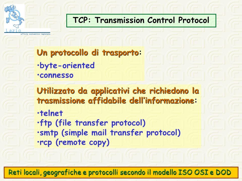 TCP: Transmission Control Protocol Un protocollo di trasporto Un protocollo di trasporto: byte-oriented connesso Utilizzato da applicativi che richied