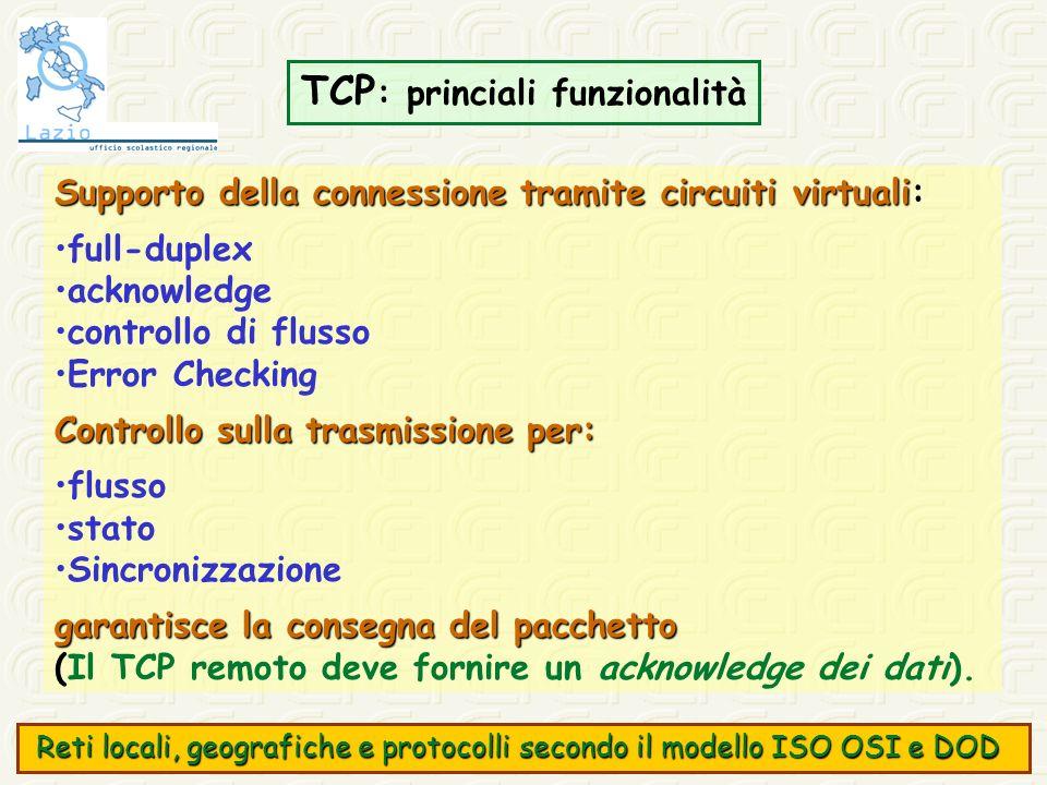 TCP : princiali funzionalità Supporto della connessione tramite circuiti virtuali Supporto della connessione tramite circuiti virtuali: full-duplex ac