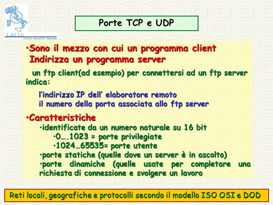 Porte TCP e UDP Sono il mezzo con cui un programma clientSono il mezzo con cui un programma client Indirizza un programma server Indirizza un programm