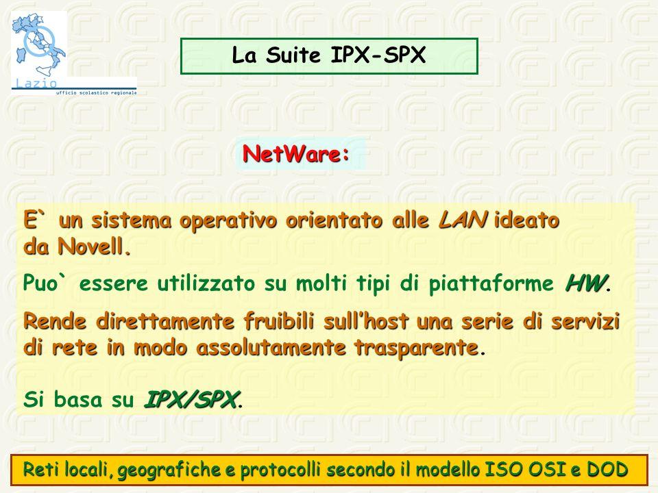 La Suite IPX-SPX NetWare: E` un sistema operativo orientato alle LAN ideato da Novell. HW Puo` essere utilizzato su molti tipi di piattaforme HW. Rend
