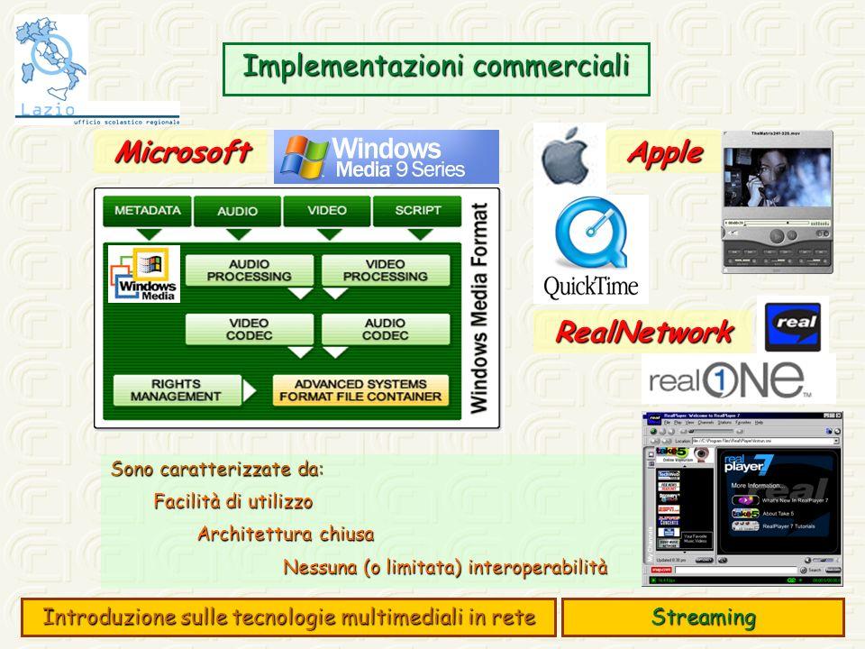 Implementazioni commerciali Sono caratterizzate da: Facilità di utilizzo Architettura chiusa Nessuna (o limitata) interoperabilità Streaming Introduzione sulle tecnologie multimediali in rete AppleMicrosoft RealNetwork